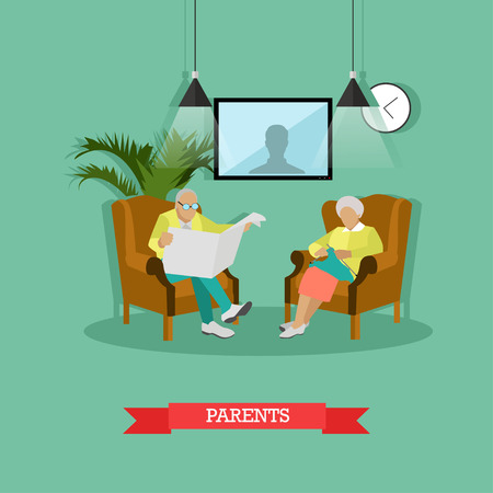 Vector illustration of parents sitting in armchairs. Man is reading newspaper, woman is knitting. Living room interior. Family concept design element in flat style. Illustration