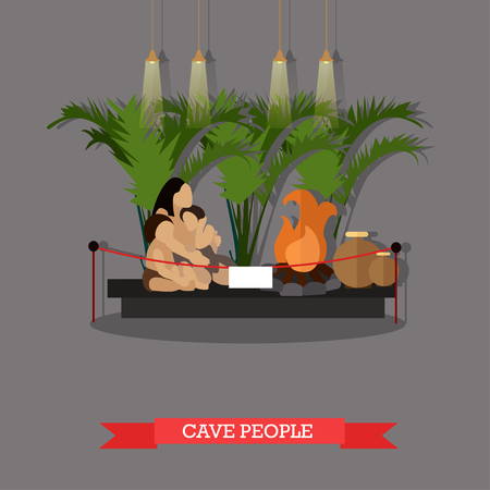 paleolithic: Vector illustration of cave people exposition in museum in flat style. Paleolithic primitive family, museum interior.