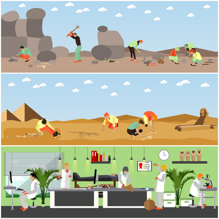 excavation: Vector set of posters, banners with archaeologists at work, tools and equipment. Archaeological laboratory research and excavation concept design elements in flat style.