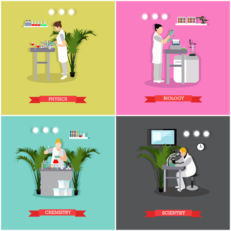 physicists: Vector set of banners, posters with different kinds of laboratories and people working there - biologists, chemists, physicists. Scientific research laboratory concept design elements in flat style.