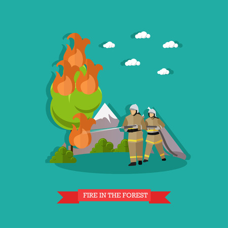 dangerous work: Vector illustration of fire in the forest in flat style. Firefighters in uniform fighting fire with water hose. Illustration