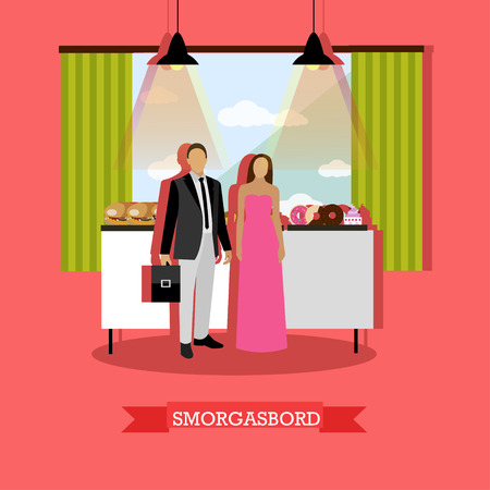 visitors: Smorgasbord concept vector illustration in flat style. Visitors man and woman standing near table with burgers, bakery and desserts. Restaurant interior. Illustration