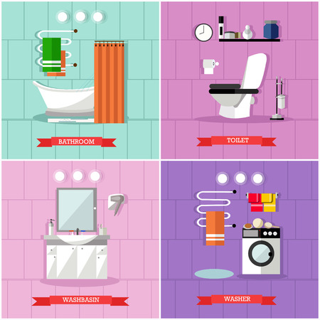 shower stall: Vector set of posters, banners with bathroom furniture, bath, washbasin, washer, toilet and accessories in flat style.