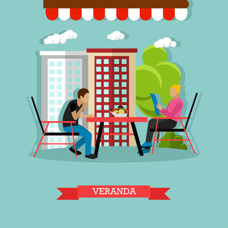 porch chair: Street cafe concept vector illustration in flat style. Man and woman sitting at the table on veranda. Woman is reading menu.