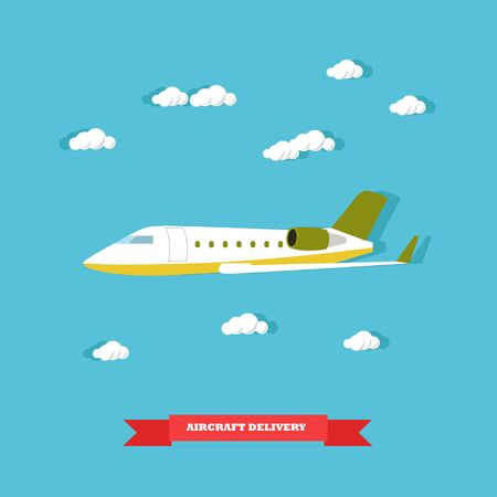 consignee: Aircraft delivery concept vector illustration in flat style. Delivery by plane. Logistics transportation.