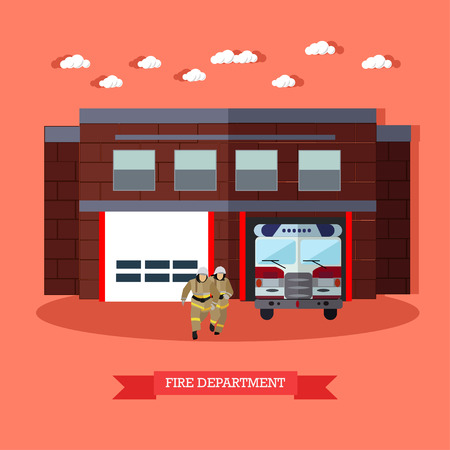 fire brigade: Vector illustration of Fire department in flat style. Fire service, running firefighters and fire truck. Red fire engine and firemen in uniform. Fire brigade. Resque service.