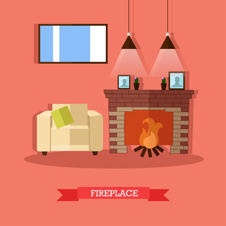mantelpiece: Vector illustration of fireplace in house. Home interior design element in flat style