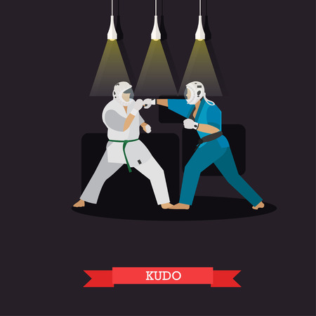 positions: Vector poster of martial arts. Kudo. Fighters in sport positions. Flat design.