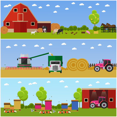 tractor trailer: Set of farming, wheat harvesting, beekeeping concept banners. Agricultural machinery. Vector illustration in flat style. Stock Photo
