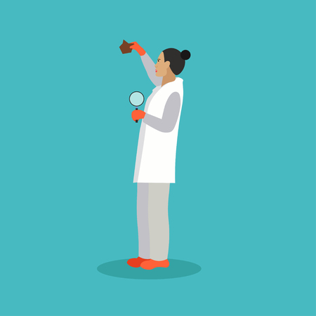 Vector illustration of researcher woman. Archeology concept in flat style.