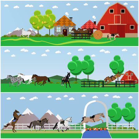taming: Vector set of horse riding, taming horses and farming concept banners, posters, flat style.