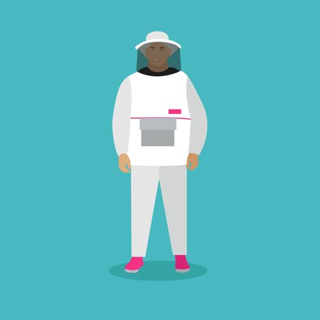 Beekeeper man in uniform. Vector illustration in flat style. Stock Photo