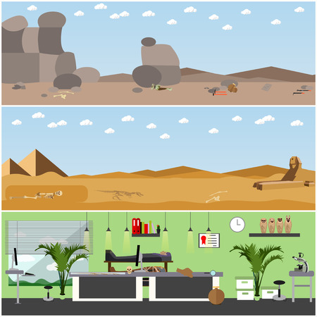 excavation: Vector set of posters, banners with archaeologists places, tools and equipment. Archaeological laboratory research and excavation concept design elements in flat style.