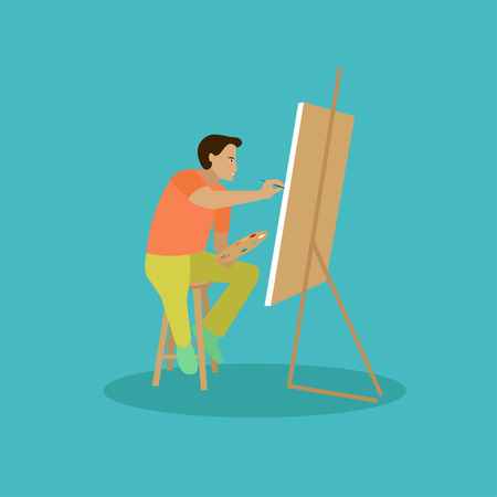 Painter is working on his easel picture. Vector illustration. Stock Photo