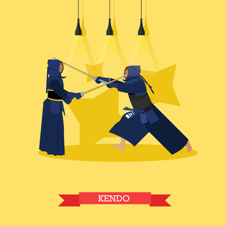 kudo: Vector poster of martial arts. Kendo. Fighters in sport positions. Flat design.