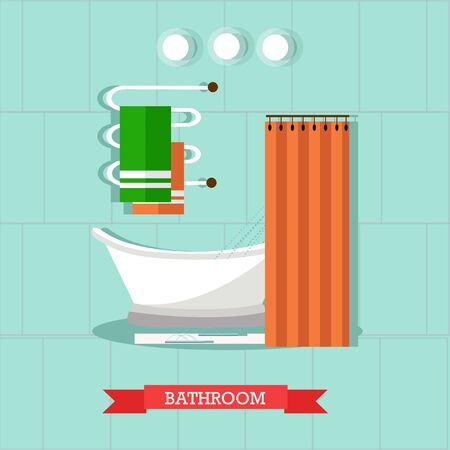 heated: Bathroom interior with furniture. Vector illustration in flat style. Design elements, bathtub, shelves, heated towel rail. Stock Photo