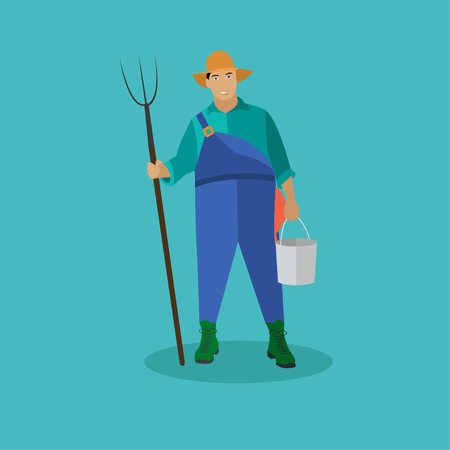 farmstead: Farmer with pitchfork and bucke. Vector illustration in flat style.