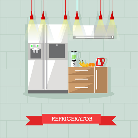 modern kitchen interior: Modern kitchen interior. Vector illustration in flat style. Room furniture, oven. Stock Photo