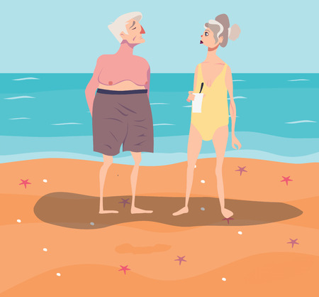 oldies: Vector illustration of old-aged couple having rest on beach Illustration