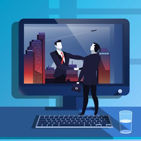 handclasp: Vector illustration of businessmen handclasp in flat design