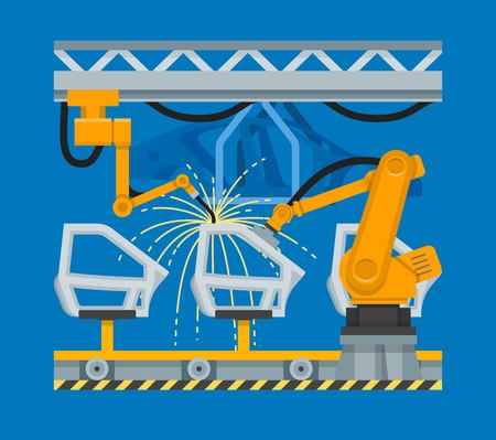 industrial robots: Vector illustration spot welding of car doors with industrial robots Illustration