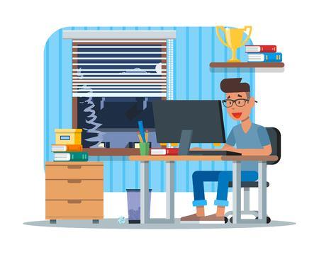 Vectorillustratie van jonge man aan het werk op de computer, platte ontwerp