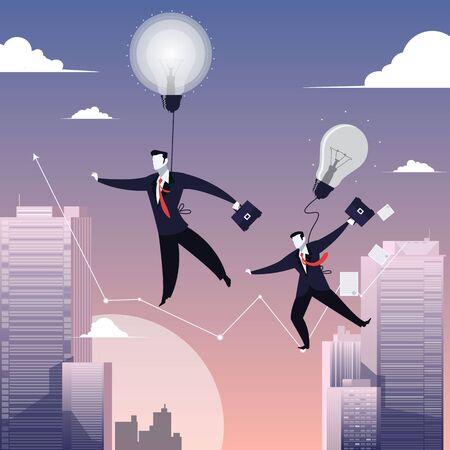 tightrope walker: Vector illustration of two businessmen walking on tightrope like funambulist