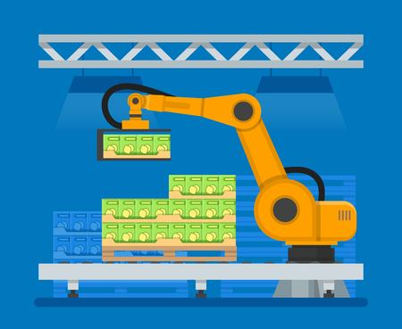 Vector illustration of industrial robots for palletizing food products Vektorové ilustrace