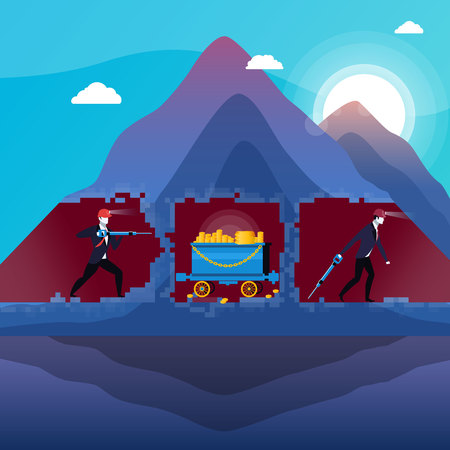 Vector illustration of business people in mine with gold bullions