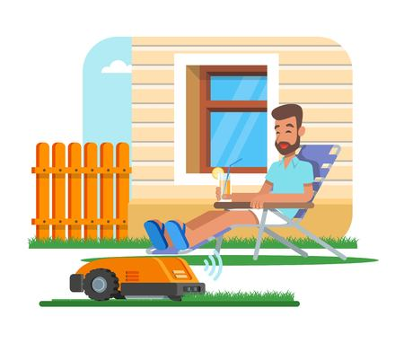 Vector illustration of home robot trimming lawn, man having rest