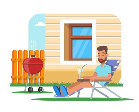 lawn chair: Vector illustration of man cooking barbecue and having rest.