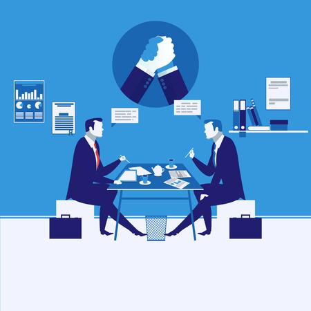 Vector illustration of two businessmen having meeting, arm wrestling symbol Illustration