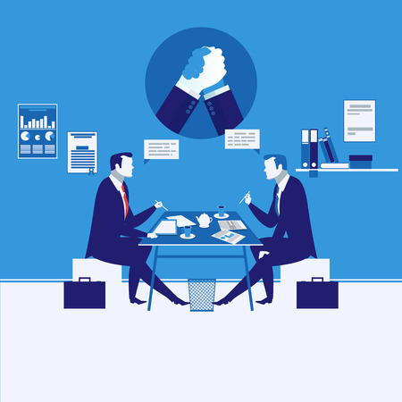 Vector illustration of two businessmen having meeting, arm wrestling symbol Иллюстрация