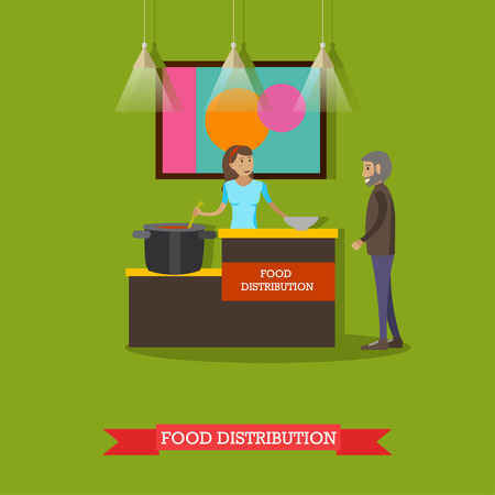 voluntary: Vector illustration of volunteer young woman helping elderly man with food. Voluntary organizations services concept design element in flat style.