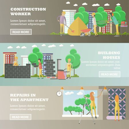 wallpapering: Vector set of residential construction concept horizontal banners, flat style