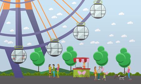 Vector illustration of amusement park concept design element, flat style Illustration