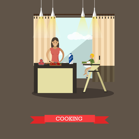 woman drinking milk: Vector illustration of mother with her son in kitchen. Woman is cooking, little boy is sitting in baby high chair. Family concept design element in flat style.