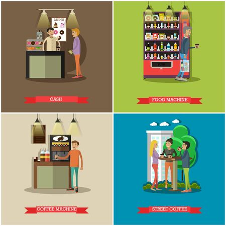 woman drinking milk: Vector set of coffee, cash concept design elements, flat style Stock Photo