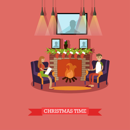 Vector illustration of young man and woman sitting in armchairs near fireplace decorated with christmas stockings. Christmas time. Merry Christmas and Happy New Year design element in flat style.