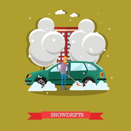 snowdrifts: Vector illustration of boy clearing car from snow, shoveling snowdrifts. Winter people activities concept design element in flat style.