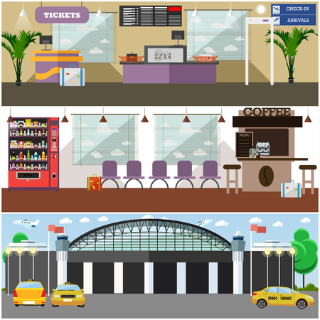 automat: Vector set of airport interior concept posters, banners, backgrounds. Airport terminal, cafe, convenient waiting hall, exterior, taxi design elements in flat style. Illustration