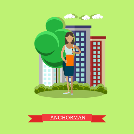 news reporter: Vector illustration of anchorman. The news reporter woman, journalist, commentator. Mass media jobs, TV broadcast concept design element in flat style.