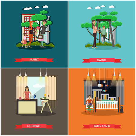 child care: Vector set of family concept posters in flat style. Family, Swing, Cooking and Fairy tales design elements, cartoon characters. Illustration