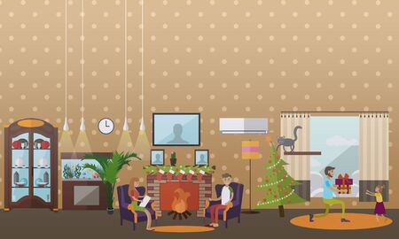 mantelpiece: Vector illustration of cozy fireplace decorated with christmas stockings, fir trees branches. Living room interior. Merry Christmas and Happy New Year design element in flat style. Illustration