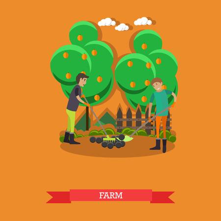 Farm concept vector illustration in flat style. Gardeners men tilling, digging soil with garden tools. Illustration