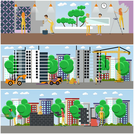 Vector set of building and repairing a house concept posters, banners in flat style. Construction site with machinery and builders, workers puttying, painting, decorating walls and installing window.