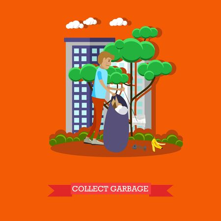 voluntary: Vector illustration of volunteer man collecting garbage in the park, in the street. Voluntary organizations services concept design element in flat style. Illustration