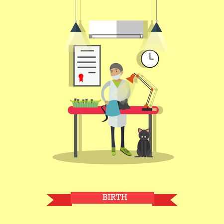 Vector illustration of veterinary surgeon assisting in kitten birth. Vet clinic services concept design element in flat style. Vector Illustration