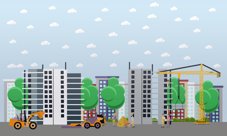 labourer: Residential construction concept vector illustration. Construction workers and machines. Building site. Flat style design. Illustration