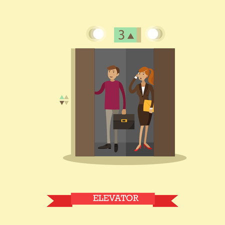 lift gate: Vector illustration of business people in office building elevator. Flat style design.